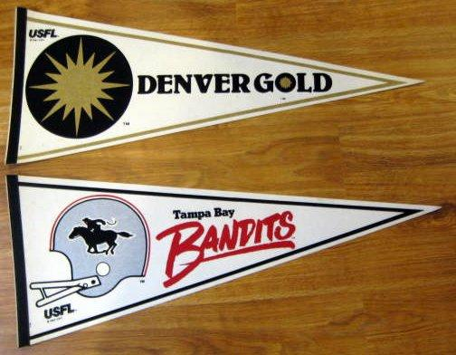 80's LOT OF 7 USFL PENNANTS