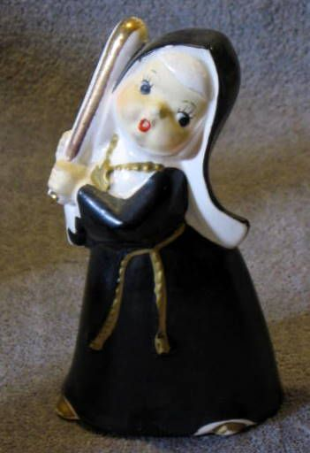 VINTAGE BASEBALL PLAYING NUNS FIGURINES (3)