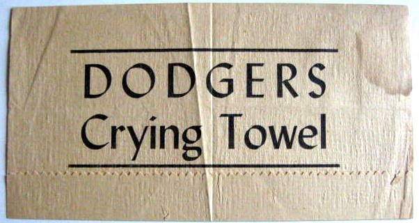 lot detail vintage brooklyn dodgers crying towel