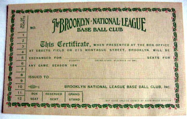 lot detail vintage brooklyn dodgers gift certificate forms