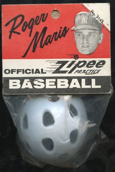 RARE 1960's ROGER MARIS WIFFLE BALL SEALED ON CARD