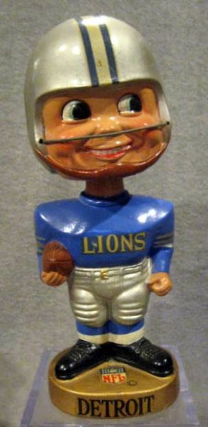 60's DETROIT LIONS GOLD BASE BOBBING HEAD