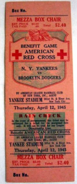 1945 NEW YORK YANKEES VS BROOKLYN DODGERS BENEFIT GAME FULL TICKET