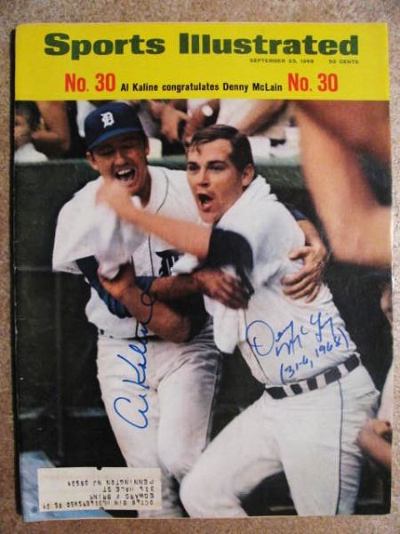 AL KALINE + DENNY McLAIN 31-6, 1968 SIGNED SPORTS ILLUSTRATED W/ JSA COA