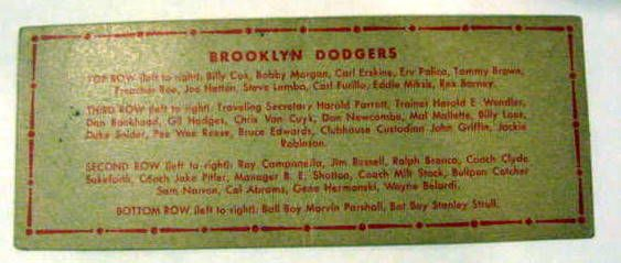 1951 BROOKLYN DODGERS TOPPS TEAMS CARDS - 2