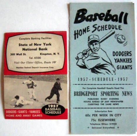 VINTAGE LOT OF 50's BROOKYN DODGERS/N.Y. YANKEES & GIANTS POCKET SCHEDULES