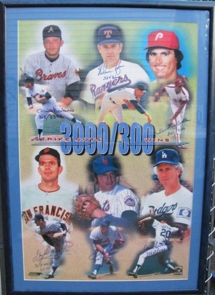 1998 - 3000 STRIKEOUT / 300 WIN SIGNED FRAMED POSTER w/ RYAN AND SEAVER - JSA LOA