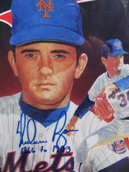 NOLAN RYAN SIGNED (2X) LEGENDS MAGAZINE COVERS WITH LAST GAME PITCHED TICKET w/JSA COA