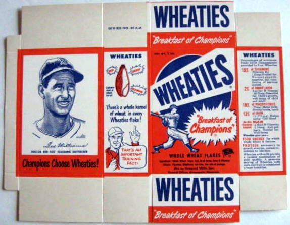 1951 WHEATIES COMPLETE BOX w/WILLIAMS CARD