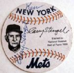 VINTAGE CASEY STENGEL DUAL SIGNED BASEBALL SHAPED CARD w/PSA/DNA COA