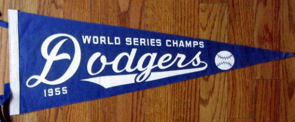1955 BROOKLYN DODGERS WORLD SERIES PENNANT w/COA - RARE