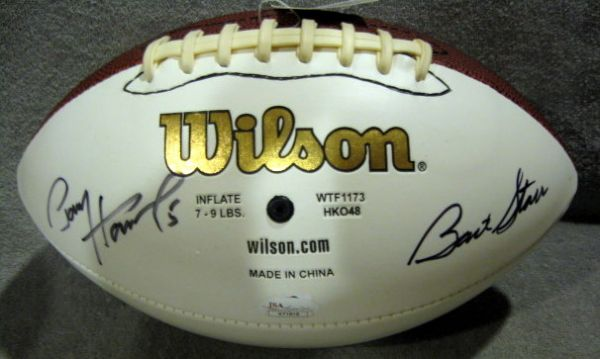 BART STARR & PAUL HORNUNG SIGNED FOOTBALL w/JSA LOA