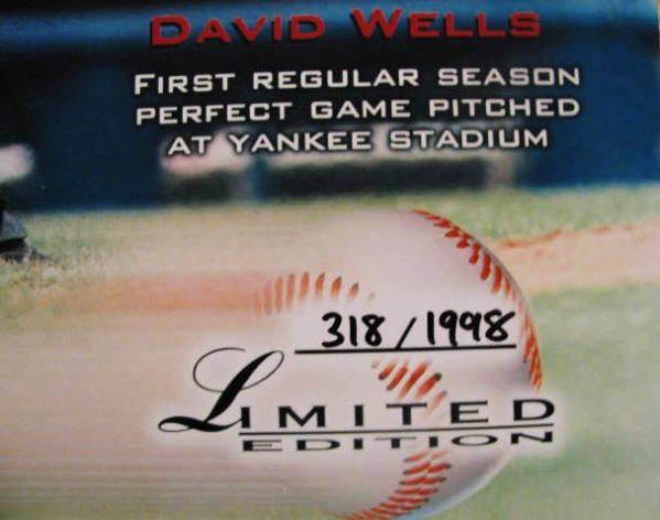 DAVID WELLS PERFECT GAME SIGNED POSTER w/ JSA COA