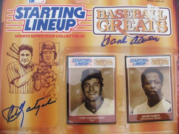 1989 SIGNED BASEBALL GREATS STARTING LINEUP - CARL YASTREMSKI + HANK AARON w/JSA COA