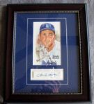 SANDY KOUFAX FRAMED PEREZ STEELE CARD w/SIGNATURE CUT- JSA LOA