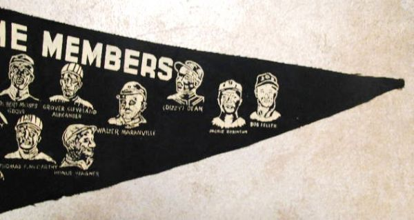 VINTAGE BASEBALL HALL OF FAME PENNANT w/PLAYERS - GIANT SIZE