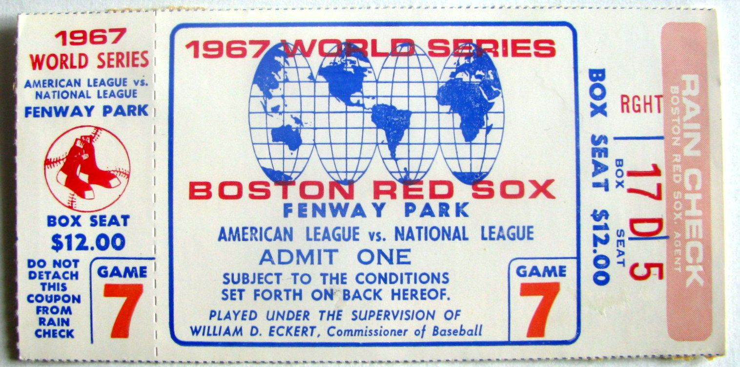1967 WORLD SERIES TICKET STUB CARDINALS VS RED SOX GAME 7
