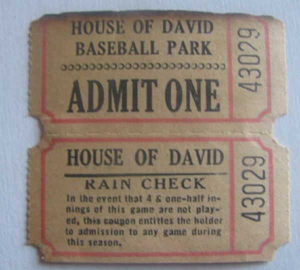 VINTAGE HOUSE OF DAVID PENNANT w/TICKET