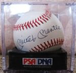 MICKEY MANTLE PSA NM-MT 8 SIGNED BASEBALL IN SEALED CASE