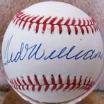 TED WILLIAMS SINGLE SIGNED BASEBALL w/JSA LOA