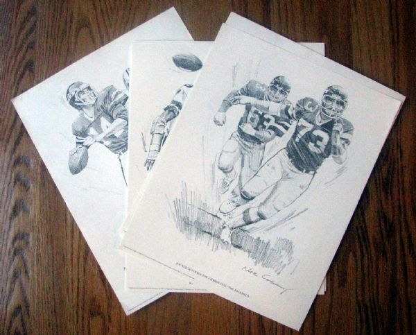 1981 NEW YORK JETS SHELL PREMIUM PLAYER POSTERS - NICK GALLOWAY ARTWORK