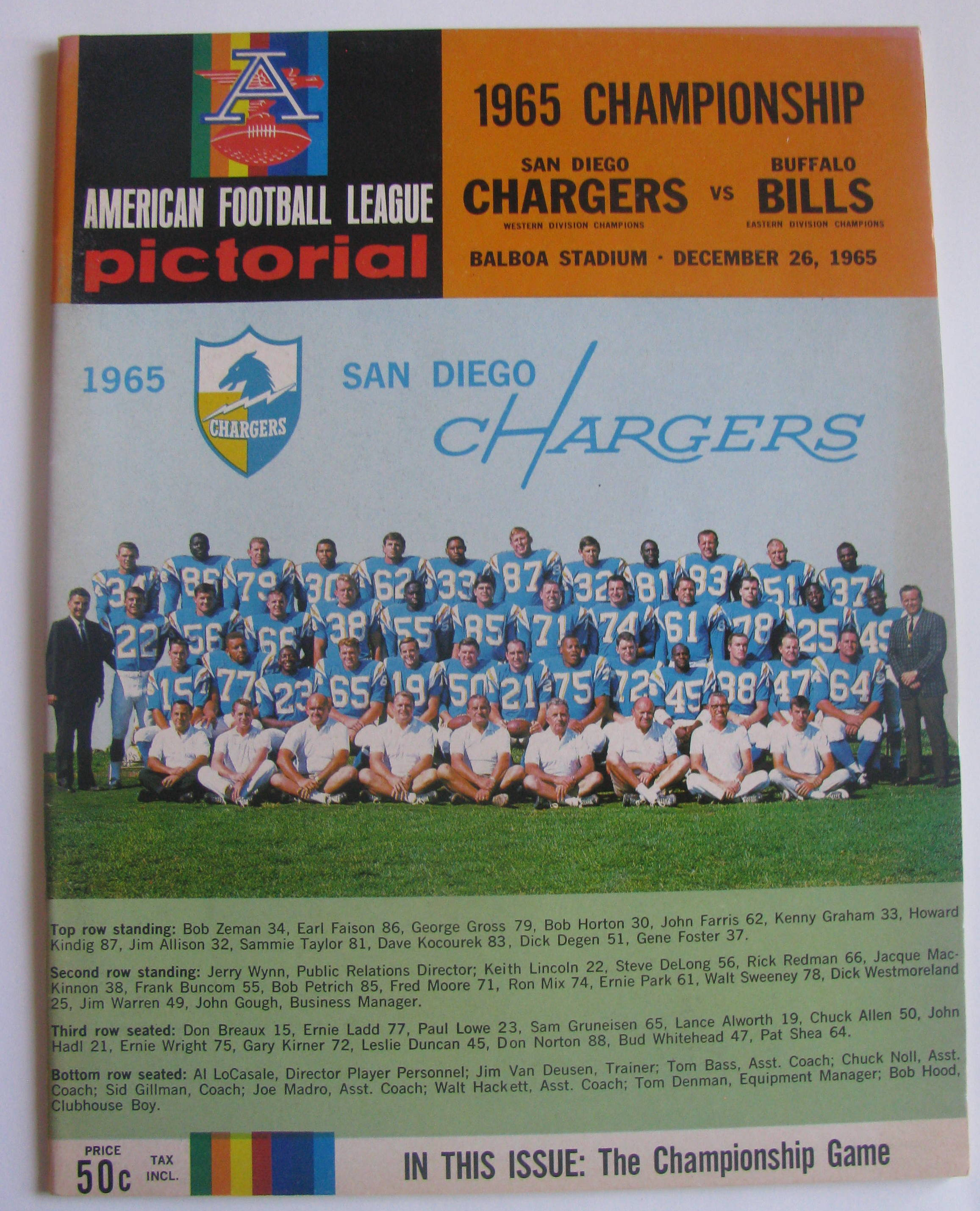San Diego Chargers Championships: 1965 AFL CHAMPIONSHIP GAME PROGRAM