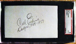 "CARL ERSKINE ""DODGERS 1948-1959 SIGNED 3X5 INDEX CARD - SGC SLABBED & AUTHENTICATED"