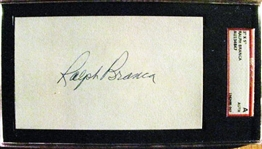 RALPH BRANCA SIGNED 3X5 INDEX CARD - SGC SLABBED & AUTHENTICATED