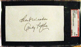 "ANDY PAFKO ""BEST WISHES"" SIGNED 3X5 INDEX CARD - SGC SLABBED & AUTHENTICATED"