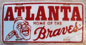 VINTAGE ATLANTA HOME OF THE BRAVES LICENSE PLATE
