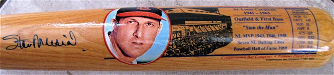 STAN MUSIAL SIGNED COOPERSTWON PICTURE BAT w/SGC COA