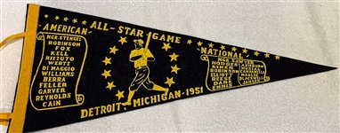 1951 ALL-STAR GAME PENNANT @ DETROIT- VERY RARE