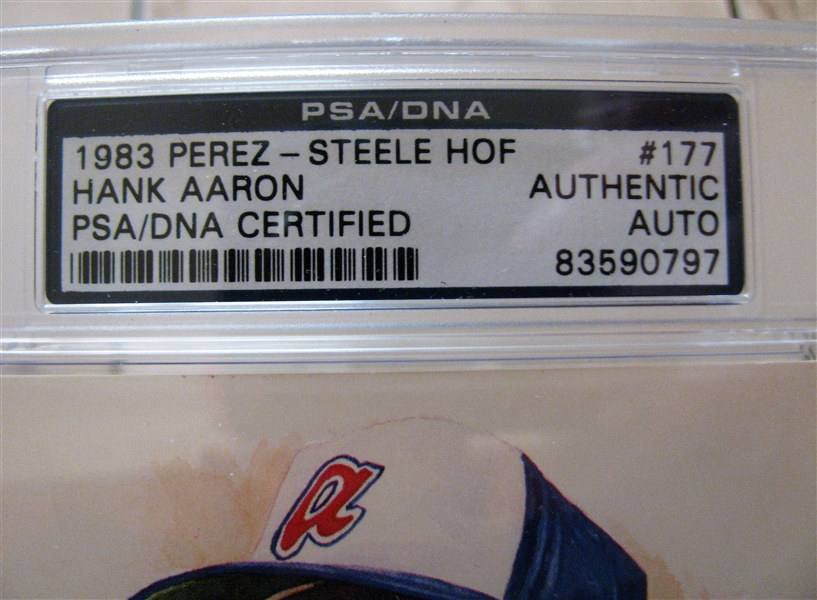 HANK ARRON SIGNED PEREZ STEELE CARD PSA SLABBED & AUTHENTICATED