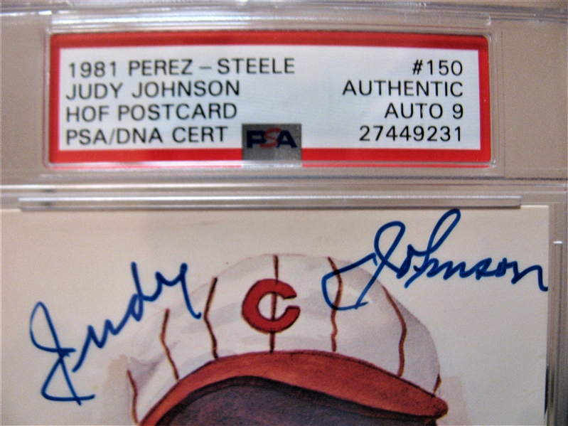JUDY JOHNSON SIGNED PEREZ STEELE CARD PSA SLABBED & AUTHENTICATED