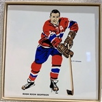 60s MONTREAL CANADIANS BOOM BOOM GEOFFRION DECORATIVE TILE w/BOX