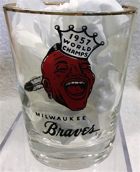 1957 MILWAUKEE BRAVES WORLD CHAMPS PLAYER GLASS- HANK AARON
