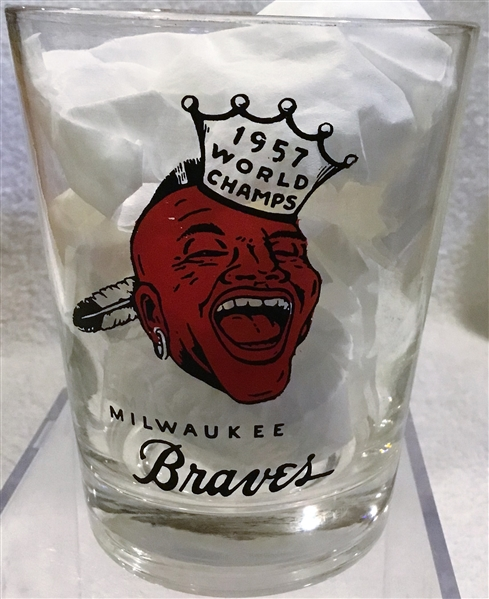1957 MILWAUKEE BRAVES WORLD CHAMPS PLAYER GLASS- WES COVINGTON
