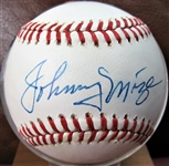 JOHNNY MIZE SIGNED BASEBALL w/CAS COA