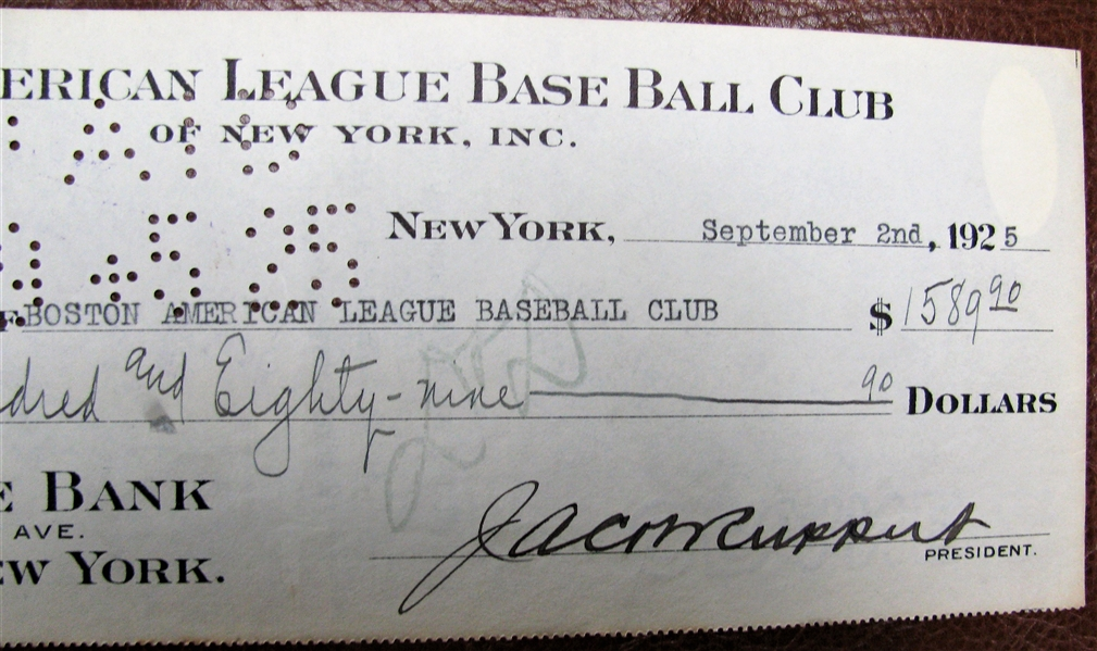 1925 NEW YORK YANKEES CHECK SIGNED BY BARROW & RUPPERT w/JSA COA
