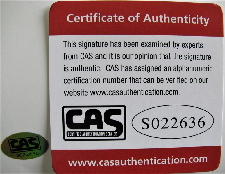 BOB LEMON SIGNED PHOTO w/CAS COA