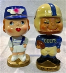 "60S BALTIMORE COLTS ""KISSING PAIR"" BOBBING HEADS"