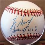 LEE SMITH SAVE #478 SIGNED BASEBALL w/CAS COA