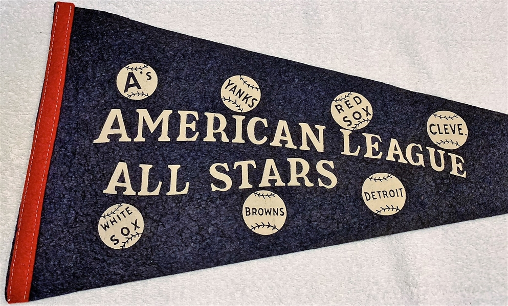 VINTAGE ALL- STAR GAME PENNANT - AMERICAN LEAGUE