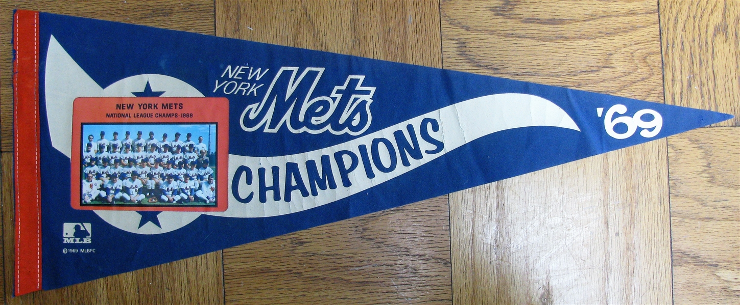 1969 NEW YORK METS NATIONAL LEAGUE CHAMPIONS PHOTO PENNANT