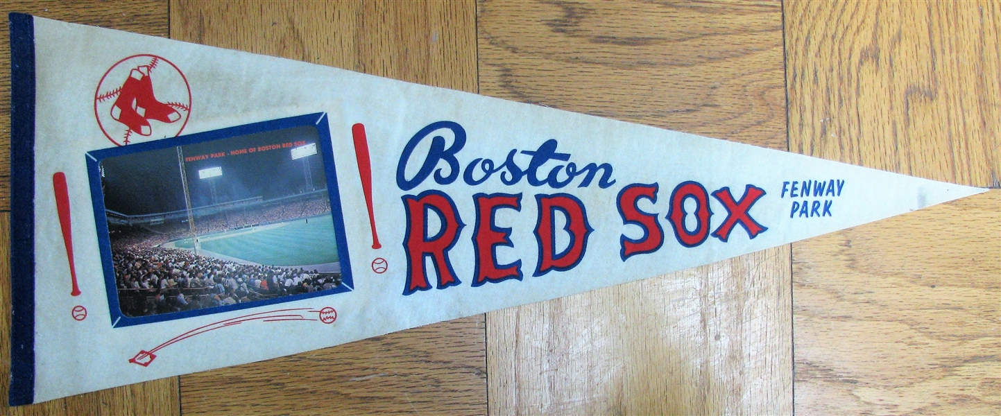 60's BOSTON RED SOX PENNANT w/FENWAY PARK PHOTO