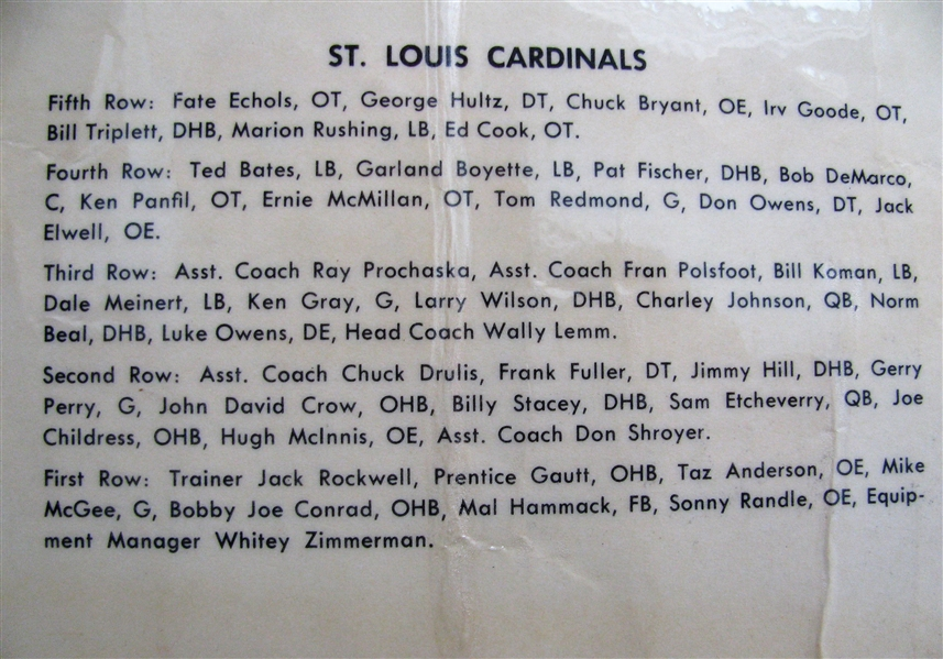 60's ST LOUIS CARDINAL TEAM PHOTO FOOTBALL PENNANT