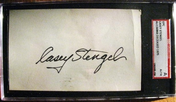 VINTAGE CASEY STENGEL SIGNED POST CARD- SGC SLABBED & AUTHENTICATED