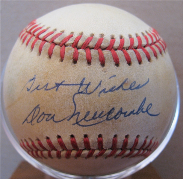 DON NEWCOMBE BEST WISHES SIGNED BASEBALL w/CAS COA