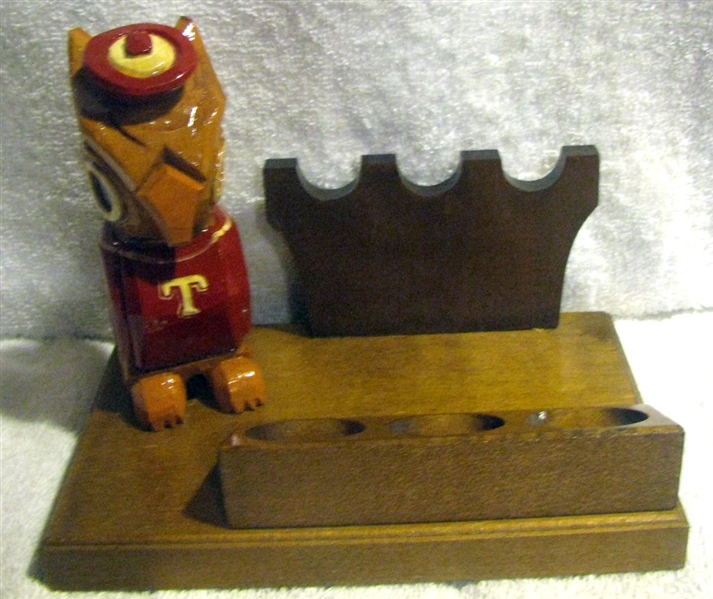 50's TEMPLE OWLS ANRI MASCOT PIPE STAND w/BOX