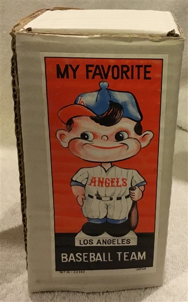 60's LOS ANGELES ANGELS WHITE BASE BOBBING HEAD w/PICTURE BOX